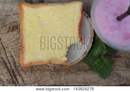 Strawberry milk and bread butter is delicious