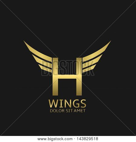 Wings H letter logo. Golden creative alphabet, air emblem