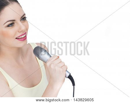 Beautiful singing girl. Beauty woman with microphone isolated on white background