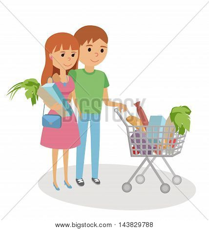 Young woman and man shopping for groceries. Vector illustration