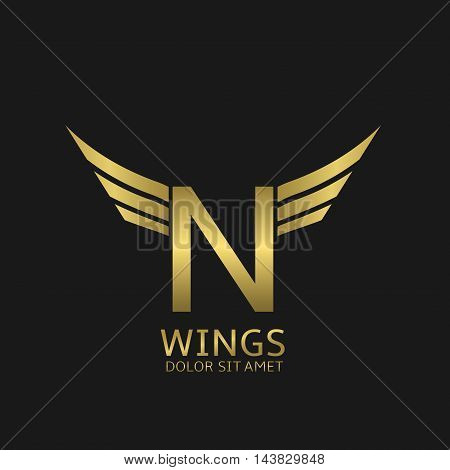 Wings N letter logo. Golden creative alphabet, air emblem