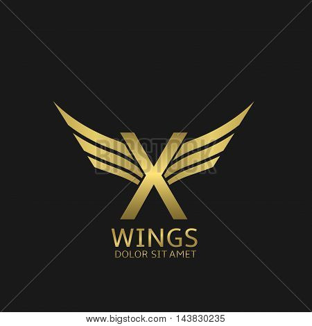 Wings X letter logo. Golden creative alphabet, air emblem