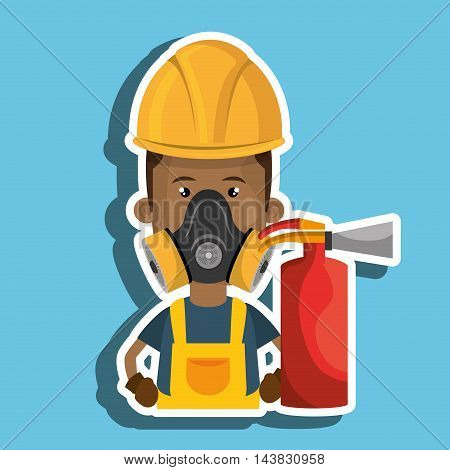 man mask extinguisher icon vector illustration eps 10