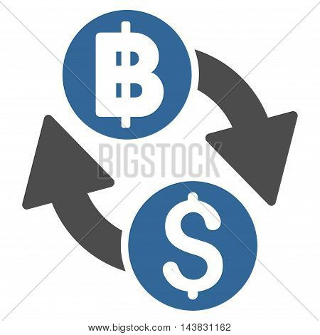 Dollar Baht Exchange icon. Vector style is bicolor flat iconic symbol with rounded angles, cobalt and gray colors, white background.