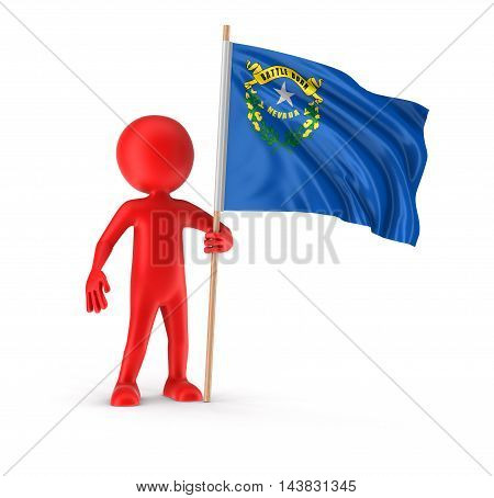 3D Illustration. Man and flag of the US state of Nevada. Image with clipping path
