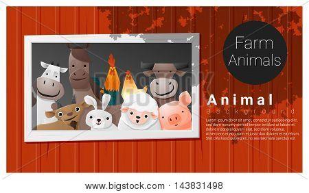 Farm animal background , vector , illustration