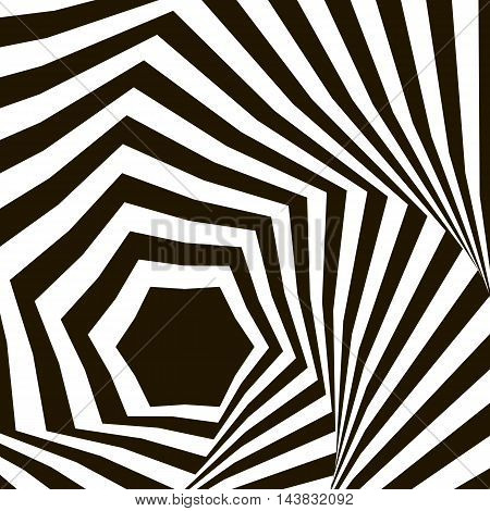 Black and white optical illusion. Op art vector background with frame. Abstract lines distortion effect. Geometric Vector Pattern