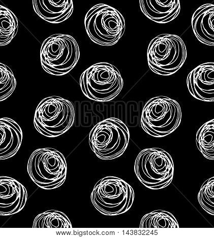 Monochrome Scribbles White Circles On Black