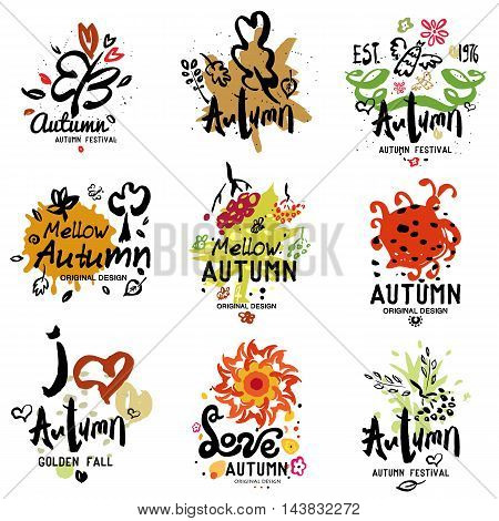 Autumn logo, illustration. Fall festival: symbol, design element, hand painted.