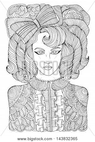 Vector hand drawn portrait of a retro girl with curly locks with a large bow and a blouse with ruffle. Romantic style. Pattern for coloring book A4 size. Coloring book for adults. Zentangle drawing.