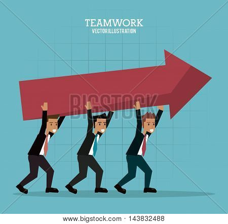 businessman avatar arrow teamwork support collaborative unity icon. flat design. Vector illustration