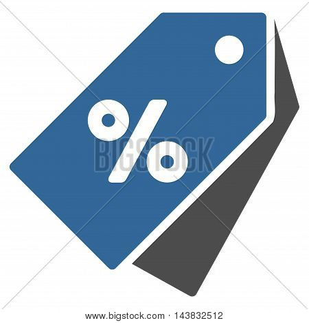 Percent Discount Tags icon. Vector style is bicolor flat iconic symbol with rounded angles, cobalt and gray colors, white background.