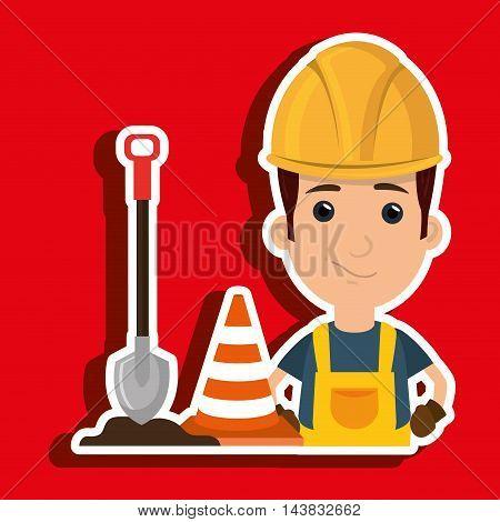 man shovel warning construction vector illustration design