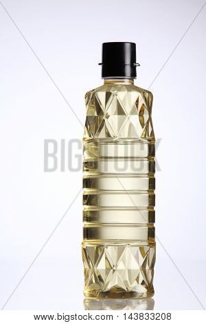 bottle of corn oil on the white background