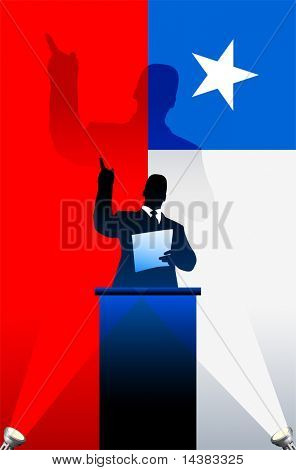 Chile flag with political speaker behind a podium  Original vector illustration. Ideal for national pride concepts.