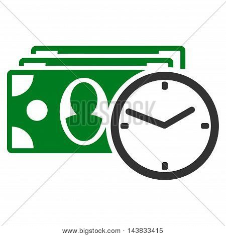 Cash Credit icon. Vector style is bicolor flat iconic symbol with rounded angles, green and gray colors, white background.