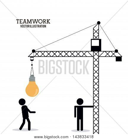 crane bulb pictogram teamwork support collaborative unity icon. flat design. Vector illustration