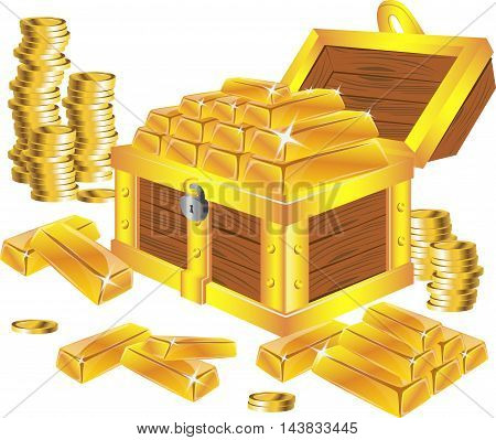 stack of golden bars in chest with coins isolated on white, vector illustration