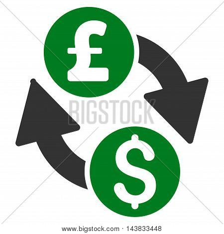 Dollar Pound Exchange icon. Vector style is bicolor flat iconic symbol with rounded angles, green and gray colors, white background.