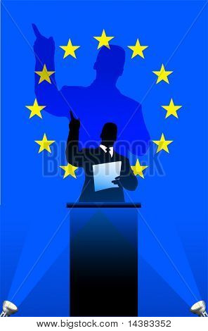 European Union  flag with political speaker behind a podium  Original vector illustration. Ideal for national pride concepts.
