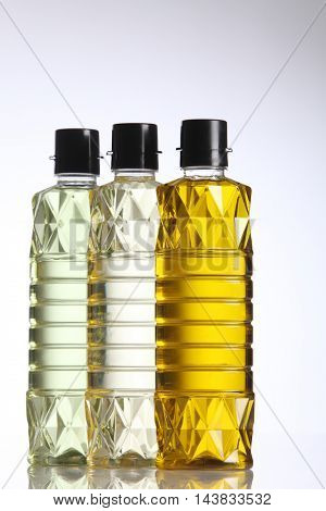 various of cooking oil on the white background