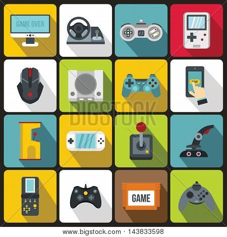 Video game icons set in flat style. Entertaining devices set collection vector illustration