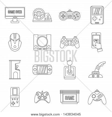 Video game set in outline style. Entertaining devices set collection vector illustration