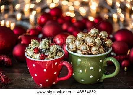 Christmas decoration in hand made mug