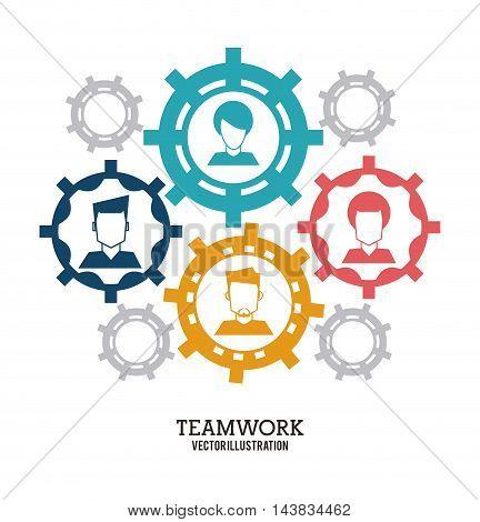 avatar gear teamwork support collaborative unity icon. flat design. Vector illustration