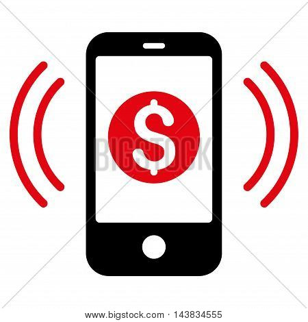 Payment Phone Ring icon. Vector style is bicolor flat iconic symbol with rounded angles, intensive red and black colors, white background.