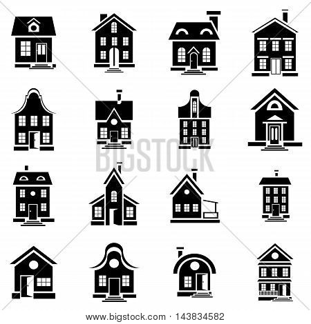 House icons set in simple style. Private residential architecture set collection vector illustration