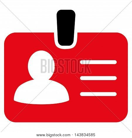 Person Badge icon. Vector style is bicolor flat iconic symbol with rounded angles, intensive red and black colors, white background.