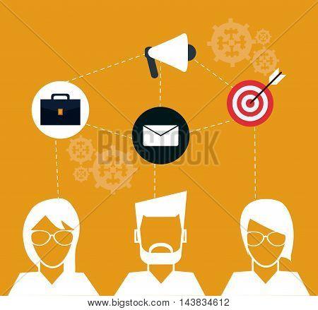 avatar man woman megaphone envelope target suitcase teamwork support collaborative unity icon. flat design. Vector illustration