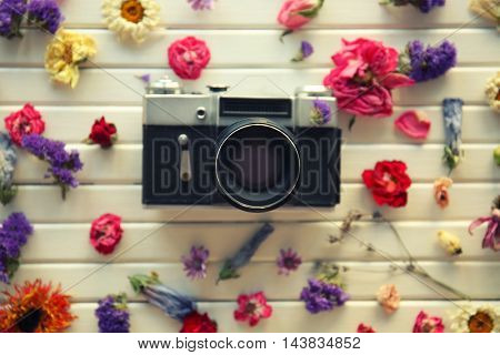 Beautiful composition of vintage camera and colourful flowers on white wooden background