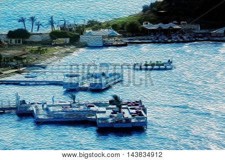 Elevated view of docks on beach