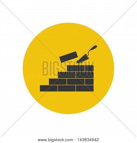 Brickwork illustration silhouette on the yellow background. Vector illustration