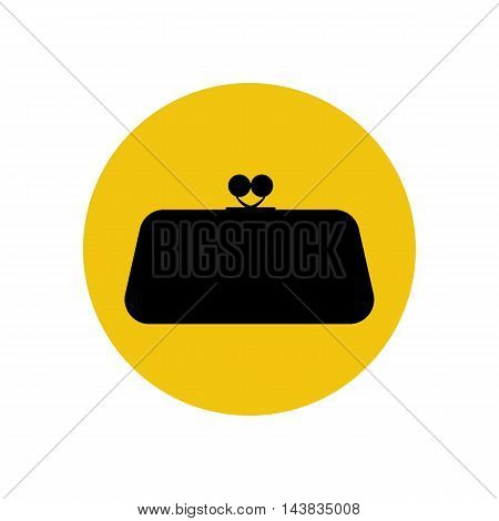Clutch bag illustration on the yellow illustration. Vector illustration