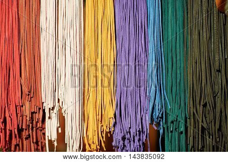 Colorful spectrum of leather and textile strings
