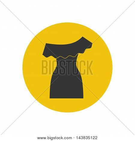 Dress illustration silhouette on the yellow background. Vector illustration