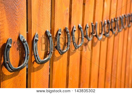 Wooden board fence with horse shoe decoration