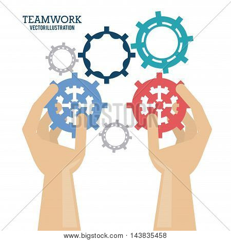 gear hands teamwork support collaborative unity icon. flat design. Vector illustration