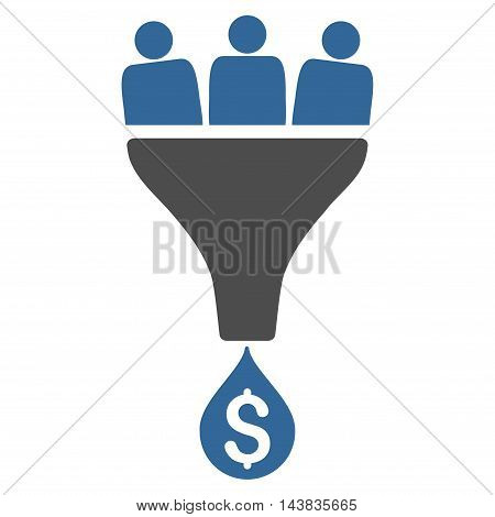 Sales Funnel icon. Vector style is bicolor flat iconic symbol with rounded angles, cobalt and gray colors, white background.