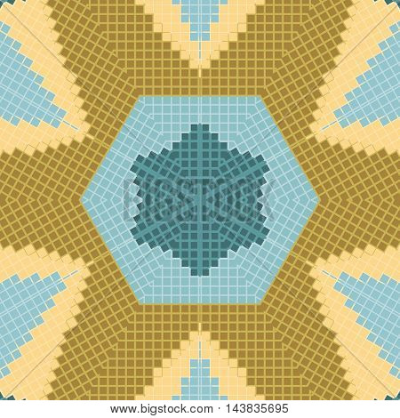 Flat ethnic seamless pattern. Colorful geometrical ornament tiles. For different design uses, as wallpaper, pattern fills, web page background, surface texturesm for print and dalle production.
