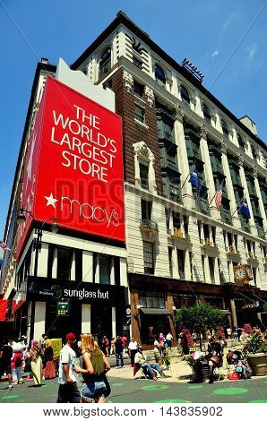 New York City - June 28 2013: The Broadway facade of Macy's the world's largest store with pedestrian plaza