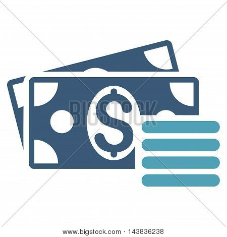Dollar Cash icon. Vector style is bicolor flat iconic symbol with rounded angles, cyan and blue colors, white background.