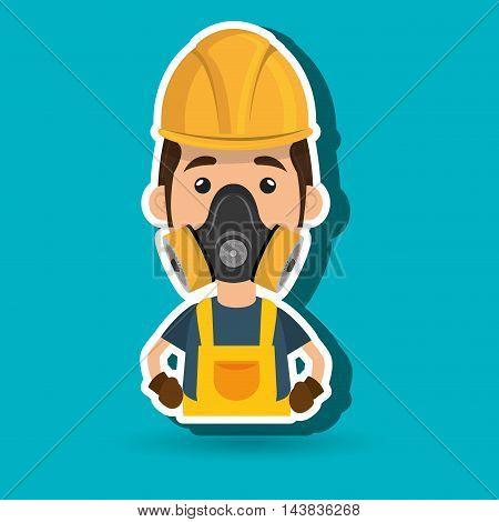 man worker mask gas vector illustration design