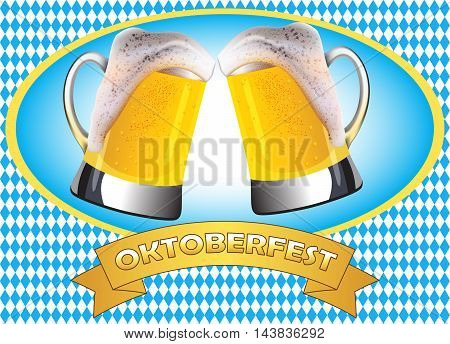 Oktoberfest poster design. Two misted mugs of golden beer clashing together on traditional oktoberfest pattern.