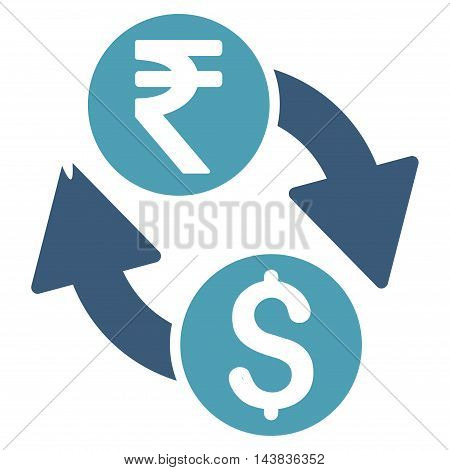Dollar Rupee Exchange icon. Vector style is bicolor flat iconic symbol with rounded angles, cyan and blue colors, white background.