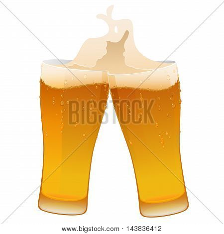 two glass of delicious fresh cold beer isolated