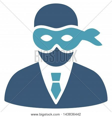 Masked Thief icon. Vector style is bicolor flat iconic symbol with rounded angles, cyan and blue colors, white background.